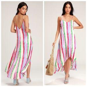 Lulu's Multicolor Stripe High Low Midi Dress